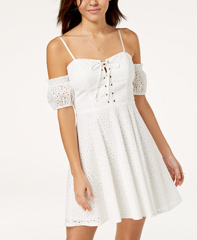 City Triangles Juniors' Cold-Shoulder Eyelet Dress