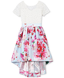 Speechless Glitter-Lace Floral-Print Dress, Little Girls