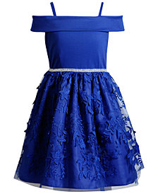 Sweet Heart Rose Off The Shoulder Embroidered Dress, Big Girls