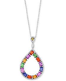 "EFFY® Multi-Gemstone (3-5/8 ct. t.w.) & Diamond (1/3 ct. t.w.) Teardrop 18"" Pendant Necklace in 14k White Gold"