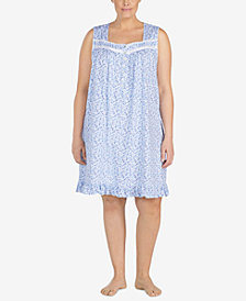 Eileen West Plus Size Ruffle-Hem Cotton Knit Nightgown