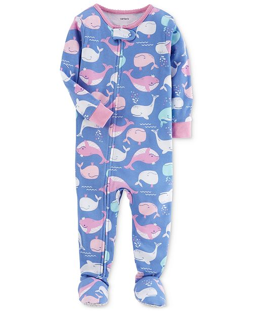 1-Pc. Whale Cotton Footed Pajamas, Baby Girls
