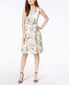 Nine West Floral-Print A-Line Dress