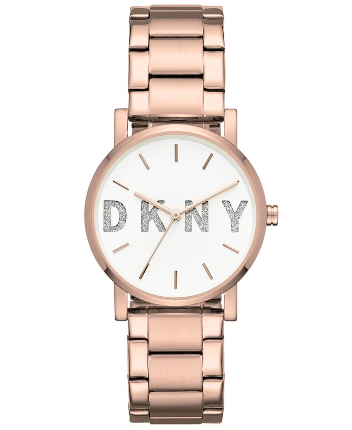 DKNY - Women's SoHo Rose Gold-Tone Stainless Steel Bracelet Watch 34mm