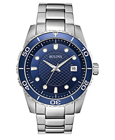 Bulova Men's Sport Stainless Steel Bracelet Watch 43mm, Created for Macy's