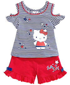 Hello Kitty 2-Pc. Cold-Shoulder Top & Shorts Set, Baby Girls
