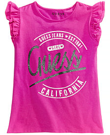 GUESS Ruffle-Sleeve Graphic-Print T-Shirt, Big Girls