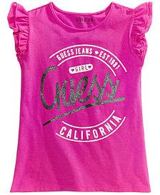 GUESS Ruffle-Sleeve Graphic-Print T-Shirt, Big Girls