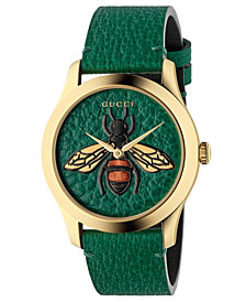 Gucci Unisex Swiss G-Timeless Emerald Leather Strap Watch 38mm