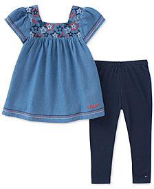 Tommy Hilfiger 2-Pc. Embroidered Denim Tunic & Leggings Set, Little Girls