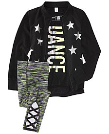 Ideology Star-Print Jacket, Tank Top & Space-Dyed Leggings, Little Girls, Created for Macy's