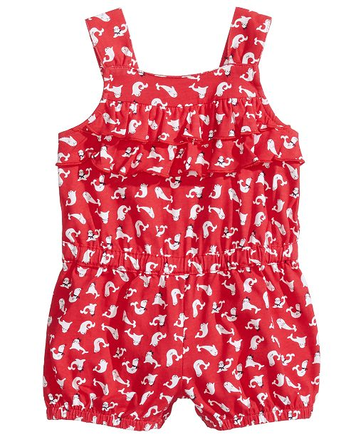 First Impressions Graphic-Print Romper, Baby Girls, Created for Macy's