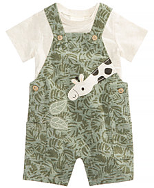 First Impressions 2-Pc. T-Shirt & Giraffe Overall Set, Baby Boys, Created for Macy's