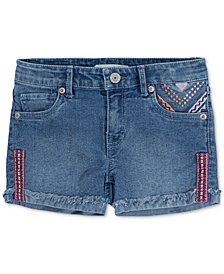 Levi's® Embroidered Shorty Shorts, Big Girls
