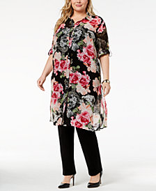 Calvin Klein Plus Size Printed Button-Front Tunic