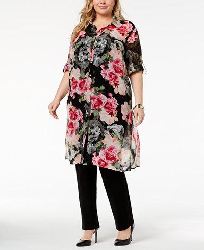 Calvin Klein Plus Size Printed Button-Front Tunic