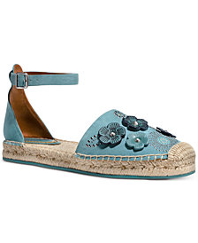 COACH Astor Ankle-Strap Espadrille Flats