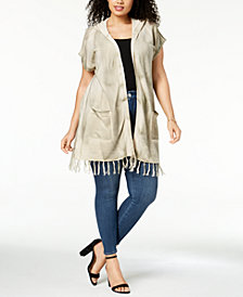 Love Scarlett Plus Size Tie-Dyed Hooded Cardigan