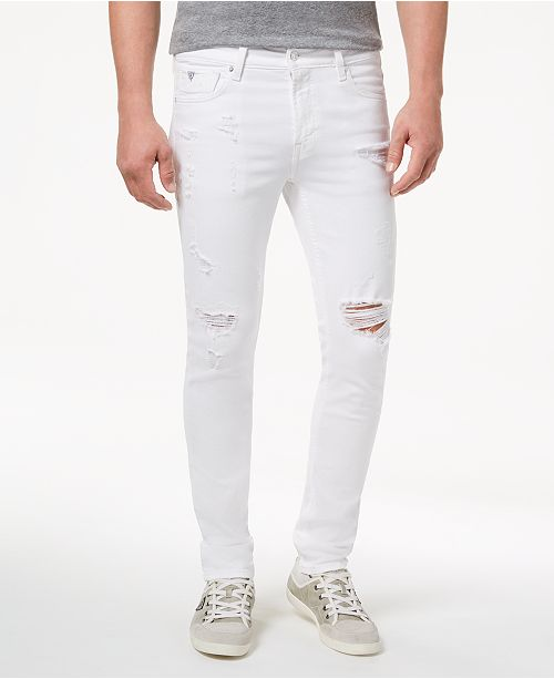 8071f8a4f8 GUESS Men's White Stretch Skinny Fit Jeans; GUESS Men's White Stretch Skinny  Fit ...