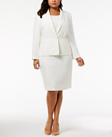 Kasper Plus Size Crepe Jacket & Sheath Dress