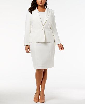 Kasper Plus Size Crepe Jacket Sheath Dress Wear To Work Women