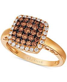 Le Vian Chocolatier® Diamond Square Cluster Halo Ring (5/8 ct. t.w.) in 14k Gold