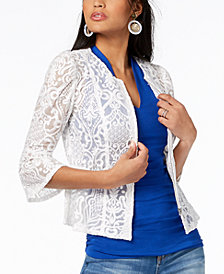 I.N.C. Petite Illusion-Lace Peplum Jacket, Created for Macy's