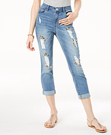 I.N.C. Ripped Gem-Embellished Cuffed Jeans, Created for Macy's