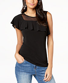 I.N.C. Petite Asymmetrical Ruffled Top, Created for Macy's