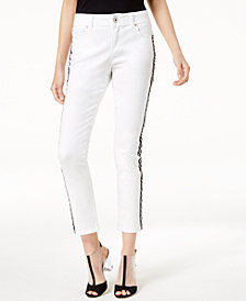 I.N.C. Petite Side-Striped Skinny Ankle Jeans, Create for Macy's