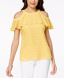 Thalia Sodi Cold-Shoulder Textured Top, Created for Macy's