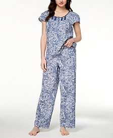 Charter Club Woven Fringe-Trim Pajama Set, Created for Macy's