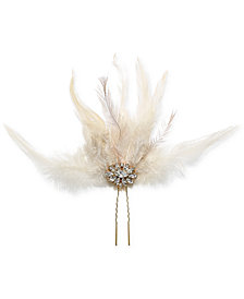 Jewel Badgley Mischka Gold-Tone Crystal & Feather Hair Comb