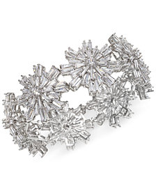 Jewel Badgley Mischka Silver-Tone Crystal Starburst Stretch Bracelet