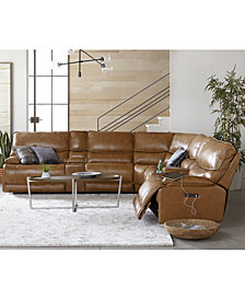 Woodyn Leather Power Reclining Sectional Sofa with Power Headrests, Lumbar and USB Power Outlet Collection