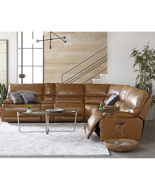 Furniture CLOSEOUT! Woodyn Leather Power Reclining Sectional Sofa with Power Headrests, Lumbar and USB Power Outlet Collection