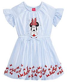 Disney's® Minnie Mouse Striped Cotton Dress, Little Girls