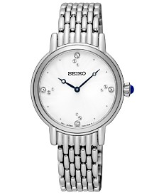 Seiko Women's Crystal Stainless Steel Bracelet Watch 29.4mm