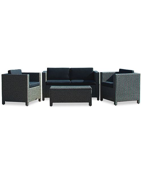 Noble House Listyn Outdoor Sofa Set, Quick Ship