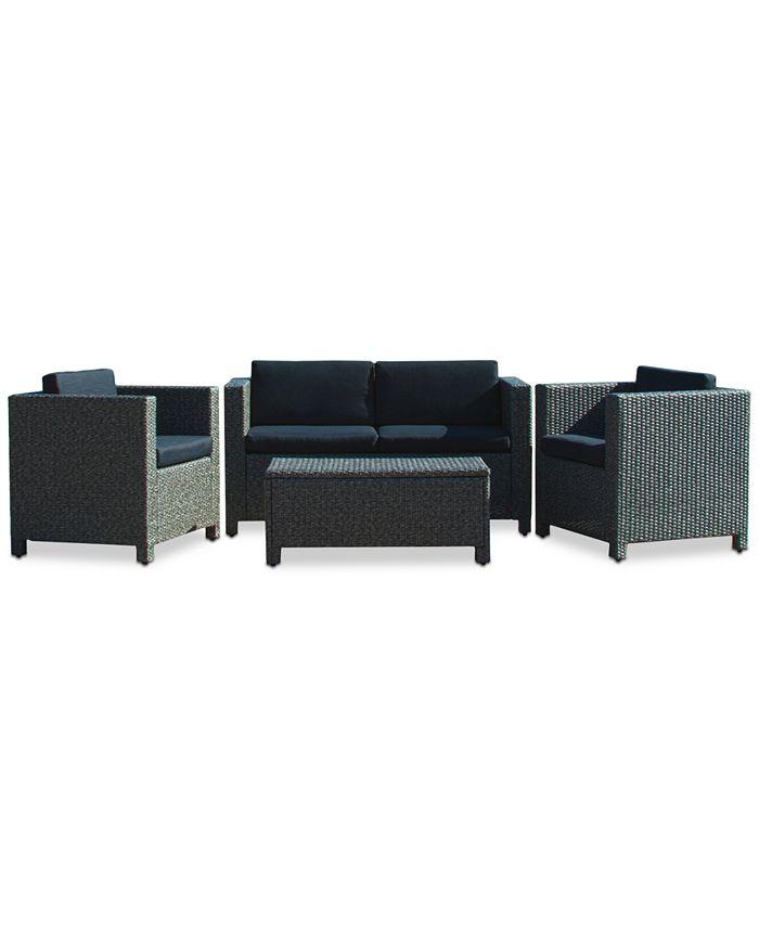Noble House - Listyn Outdoor Sofa Set, Direct Ship