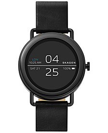 Skagen Unisex Falster Black Leather Strap Touchscreen Smart Watch 42mm