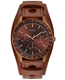 GUESS Men's Brown Leather Cuff Strap Watch 44mm
