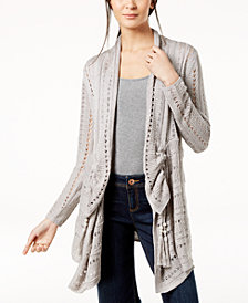 Love Scarlett Petite Pointelle-Knit Draped Cardigan, Created for Macy's