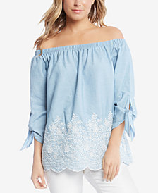 Karen Kane Cotton Embroidered Tie-Sleeve Off-The-Shoulder Top, Created for Macy's