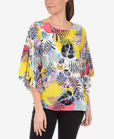 NY Collection Ruffled-Sleeve Top