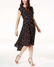 John Paul Richard Petite Printed Ruffled Dress