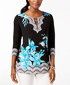 JM Collection Petite Embellished Printed Keyhole Top, Created for Macy's
