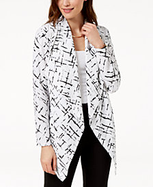 JM Collection Printed Crinkled Cardigan, Created for Macy's