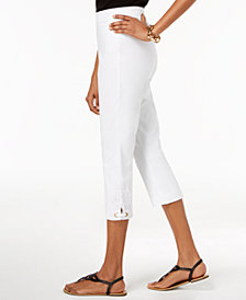 JM Collection Crochet-Lace Appliqué Capri Pants, Created for Macy's