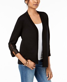 JM Collection Petite Crochet-Trim Cardigan, Created for Macy's